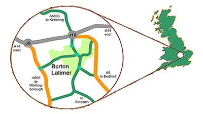 Burton Latimer location map