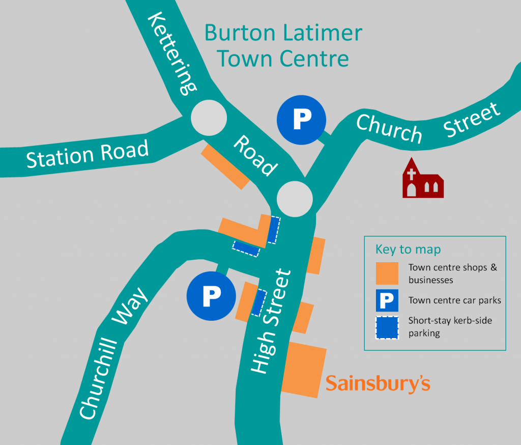 Parking map, Burton Latimer town centre